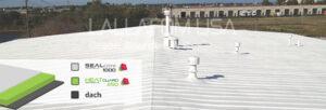 Zainstalowany poliuretanowo-silikonowy system dachowy